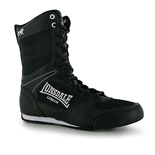 Botas de boxeo para mujer Lonsdale, calzado deportivo de cordones de corte medio, color Negro, talla 6.5 UK
