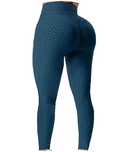 Fapreit Women's High Waist Ruched Butt Lifting Peach Booty Scrunch Anti Cellulite Workout Leggings Tummy Control Push Up Honeycomb Textured Tights Navy Blue