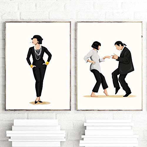 WTYBGDAN Póster de música de Baile Divertido The Future is Female Print Girl Boss Regalo para su película de Moda Arte Feminismo Imagen de Pared para Dormitorio | 45x60cmx2Pcs / Sin Marco