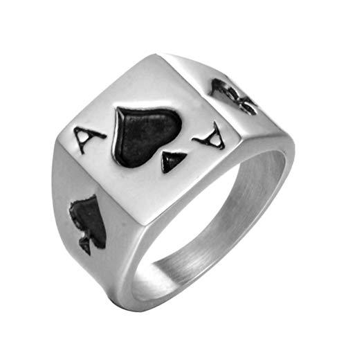 HIJONES Gótico Espadas Póker Anillos para Hombre Acero Inoxidable Plata Tamaño 19