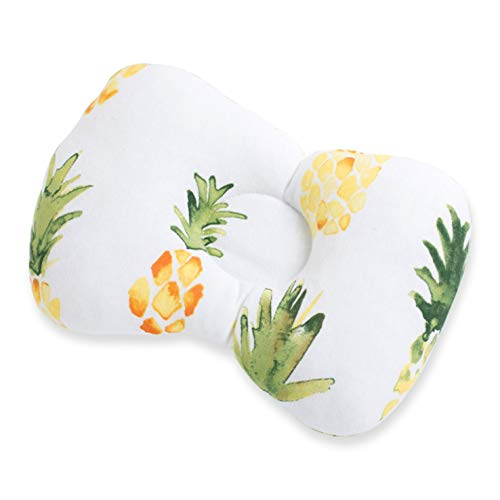 Baby Pillow, Groove Design, Prevent Flat Head, Pineapple Print 30X23cm, Suitable For Head Shaping Of Newborn Babies From 0-6 Months