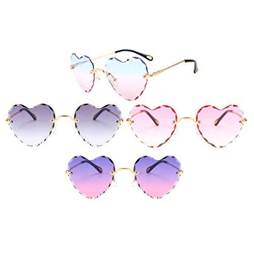MagiDeal Juego de 5 Gafas de Sol con Forma de Corazón Gafas Clásicas con Montura Metálica con Lentes Tintados