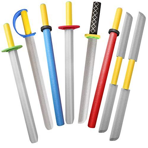 MLcnleS Foam Swords for Kids 22 inch Foam Weapons Toy 8 Pack, Kids Foam Prince Sword Warrior Ninja Samurai Knight Pretend Play Toy Set, Party Supplies for Boys (8 Foam Sword)