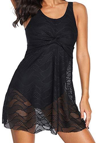 Ocean Plus dames kant V-hals rugvrij badpak met slip elegant zwart buikweg badmode badkleding eendelig met badstokje