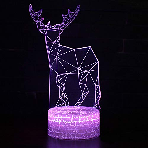 3D Animal Longhorn Deer Pattern Night Light,Sleep Light,Illusion Lamp,7 Color Change Decorative Lights, Kids Toys Birthday Gift Touch with Remote Control for Baby Adults Bedroom