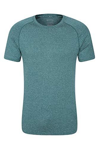 Mountain Warehouse T-Shirt à Rayures IsoCool Agra pour Homme - Protection UV - Léger et Respirant - Séchage Rapide - pour Voyages, randonnée, Course, Vacances Vert foncé XS