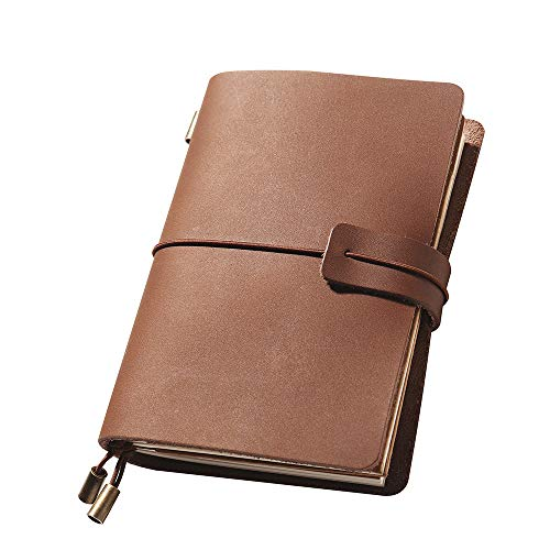 Refillable Handmade Travel Journal, Leather Travelers Notebook Journal for Men & Women, Perfect to Writing, Gifts, Travelers, Small, Passport Size, 5.2 × 4 Inches - Brown
