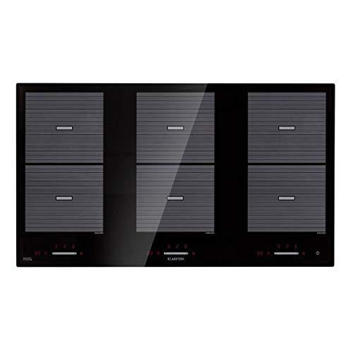 Klarstein Virtuosa Flex 90 Placa de inducción - 6 zonas de cocción, 10800W, Vitrocerámica, Encastrable, ThermoBoost, Flexzone, Temporizador, Control parental, Negro