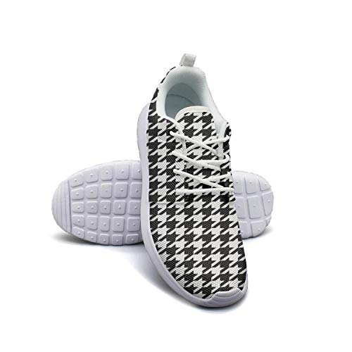 HURSUEE Plaid Printing Houndstooth Black and White Shoes Women Ultra Lightweight Flexible Trainers Sneakers Running Shoes