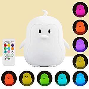 Portable LED Children Night Light, ilavie Remote Control Silicone LED Multicolor Night Lamp USB Rechargeable Night Light Colour Changing Lamps Gifts for Kids Baby Bedroom Nursery