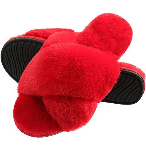 [INFLATION] ルームシューズ レディース スリッパ 室内履き もこもこ 柔らかい 洗えるスリッパ 冬 ふわふわ 可愛い 防寒 軽量 ファッションサンダル レッド 赤