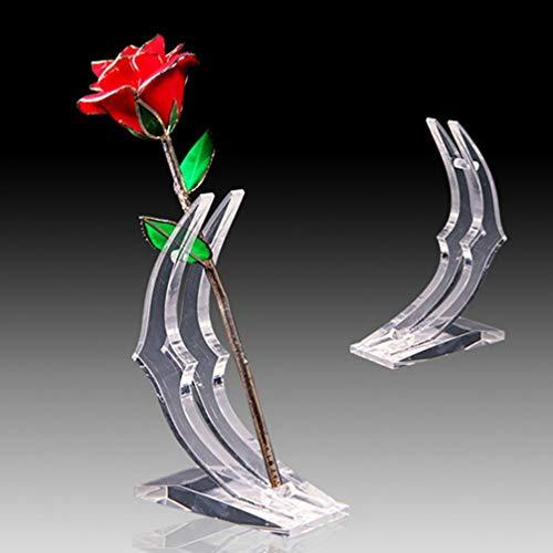 Garneck 24 Karat Roségold Blumenständer Regal Acryl-Display-Ständer Gold Rose Unterstützung Halbmondförmigen Klaren Kristall Basis Transparente Halterung für Künstliche Blumen 24 Karat Gold Rose