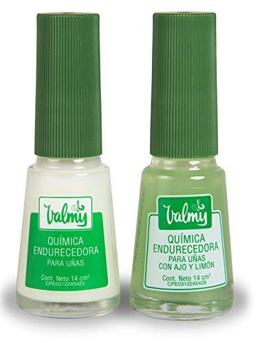 Valmy Química Endurecedor de Uña + Química con Ajo y Limón – Tratamiento de Esmalte Fortalecedor y Blanqueador - 2 Unidades de 14 ml