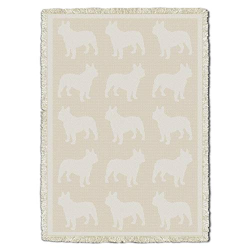 French Bulldog - Natural Cotton Woven Blanket Throw - Made in The USA (70x50)