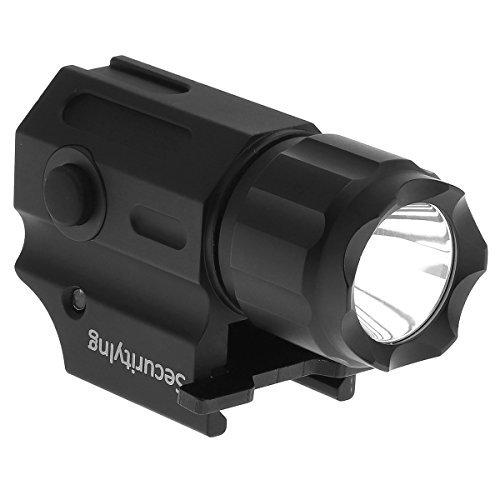 SecurityIng Linterna LED estroboscópica táctica Cree resistente al agua, 2 modos, 210 lm, pistola de mano con montaje de liberación rápida (batería no incluida)