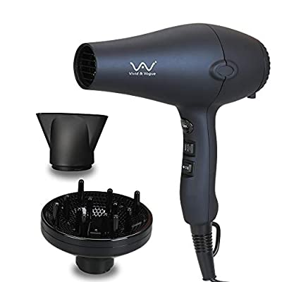 VAV Professional Tourmaline Hair Dryer Negative Ionic Salon Hair Blow Dryer, Light Weight Low Noise DC Motor Hair Dryers 2 Speed and 3 heat With Diffuser & Concentrator