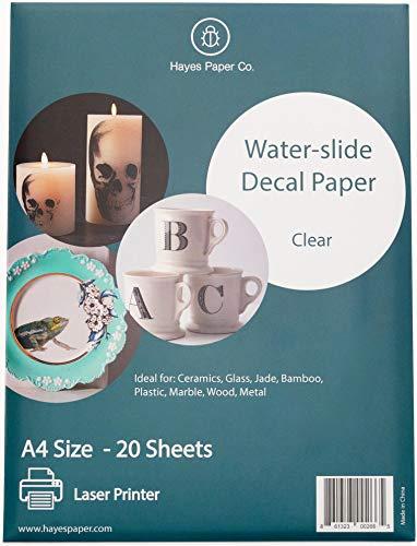 Hayes Paper, Wasserschiebefolie, Aufkleberpapier, LASERDRUCKER TRANSPARENT, 20 Seiten Erstklassiges Waterslide Wassertransferpapier, Durchsichtig, Bedruckbare Decalfolie, Klebefolie, A4-Größe
