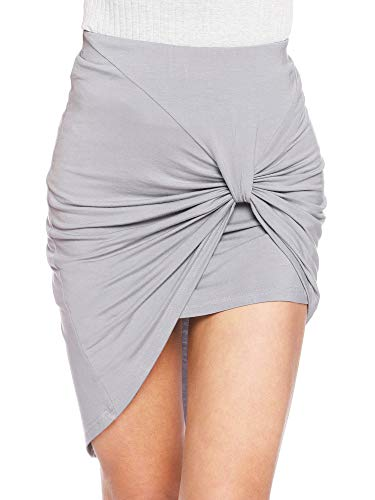 SATINIOR Mini Skirts for Women Bodycon Jersey High Waisted Boho High Low Summer Pencil Skirt(Gray, XL)
