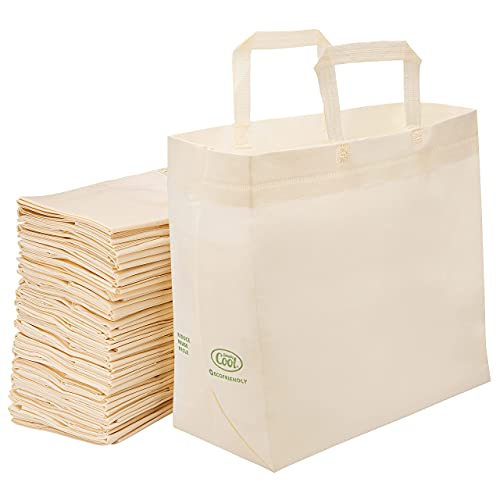 """50 Pack Reusable Eco-Friendly Grocery Shopping Bags 15""""x14""""x6.6"""", Durable, Environmentally..."""