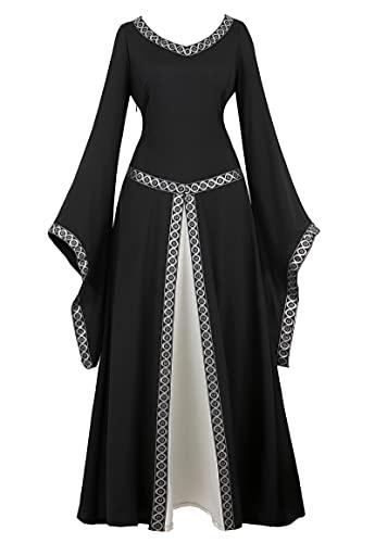 Zhitunemi Renaissance Dress for Women Dress up Halloween Medieval Costume Faire Gothic Gown Black L