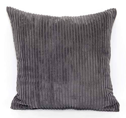 Large 24in x 24in Super Soft Chenille Stripe Cushion in Charcoal (Complete With Pad)