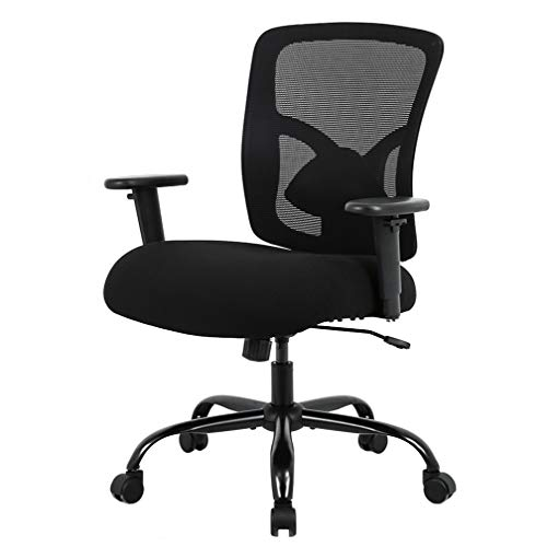 BestOffice 400lbs Wide Seat Desk Computer Lumbar Support Adjustable Arms Task Rolling Swivel Mesh Executive High Back Ergonomic Chair for Adults Women, Black