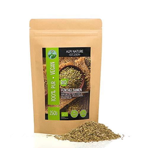 Semillas de hinojo orgánico entero (250g), especia calidad crudo, hinojo de cultivo orgánico certificado, granos de hinojo sin gluten, sin lactosa, probado en laboratorio, vegano