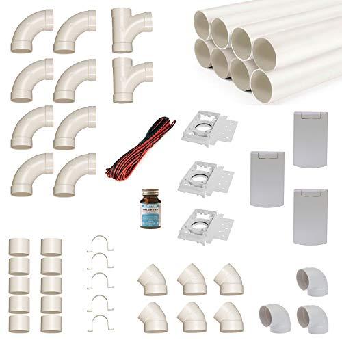 Zentralstaubsauger Einbau-Set für 3 Saugdosen mit Rohren, Fittings und Co - DIY-Montageset für Staubsaugeranlage - Saugdose R-VEX