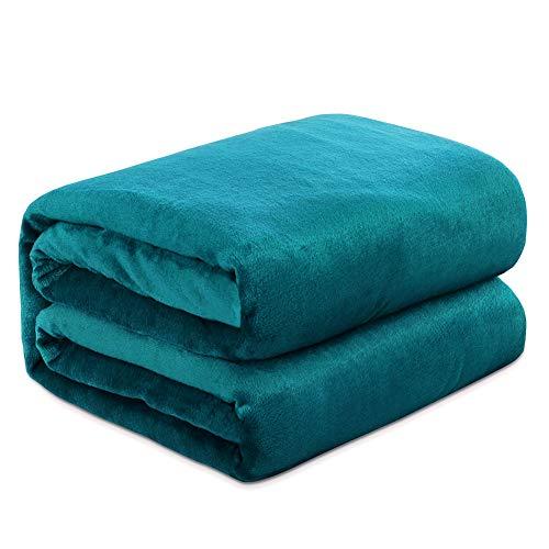 Mantas para Sofa Verde Azulado 150 × 200 cm, RATEL Mantas para Cama de Franela Reversible, Mantas Ligeras de 100% Microfibra - Fácil De Limpiar - Extra Suave Cálido