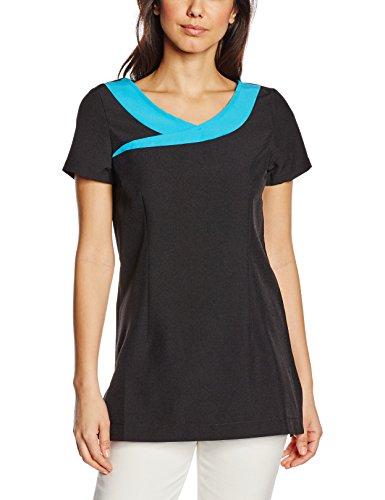 Premier Workwear Ivy Beauty & SPA Tunic, Camiseta sin Mangas para Mujer, (Black/Turquoise), 44