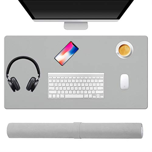 KUAO Large Gaming Mouse Pad Gray, Desk Pad Office Desk Mat 31.5 × 15.7'(80X40CM) PU Leather Double-Sided Computer Laptop Mouse Keyboard Mat Pad Non-Slip Waterproof Desk Protector Writing Pad Mat