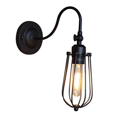 Retro Ijzeren Kooi Wandlamp Loft Gangpad Decoratie Wandlamp Metaal Smeedijzeren Wandlamp E27 Schroef Verlichting 18,5CM,Black