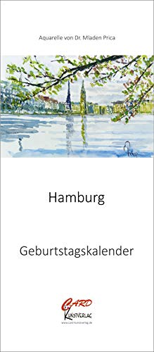 Geburtstagskalender mit Spiralbindung, Format 14x32 cm, immerwährender Wandkalender, Aquarell Motive von Hamburg, Kalender für Geburtstage