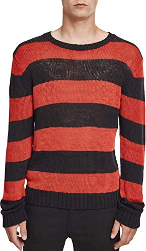 Urban Classics Herren Striped Sweater Sweatshirt, Mehrfarbig (Blk/Firered 00719), L