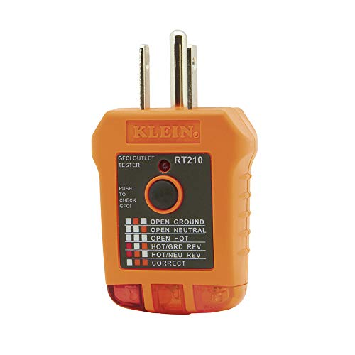 Klein Tools RT210 Outlet Tester Receptacle Tester for GFCI / Standard North American AC Electrical Outlets Detects Common Wiring Problems