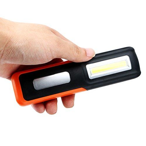 Led Cob lampe de poche, USB rechargeable étanche rotatif à suspendre LED Lampe de travail 3 W LED COB magnétique d'urgence lampe de poche W/crochet pour camping randonnée en plein air, orange