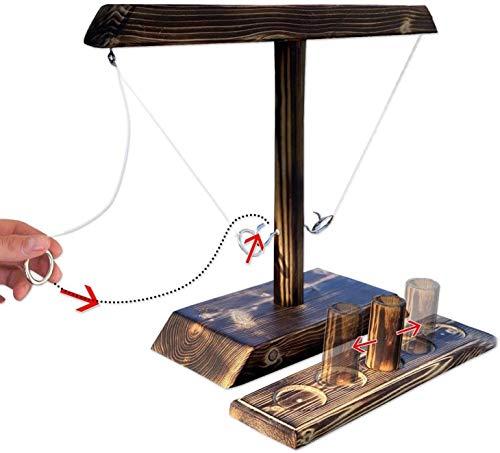 Xbtianxia Ring Toss Game, Ring Toss Drinking Game, Juego de Escalera de Gancho y Tiro, Juego de Mesa Ring Toss para niños Adultos, Juego de Diversión Familiar al Aire Libre (Color : B)