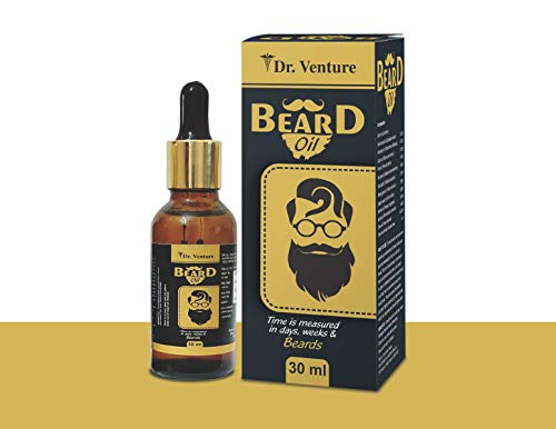 Dr Venture Beard Oil and Moustache Oil Beard Growth Oil Made With 9 Natural Essential Oil For Nourish Hair Repair Damaged Hair And Reduce Breakage 100% Natural 30 Ml Pack of 1