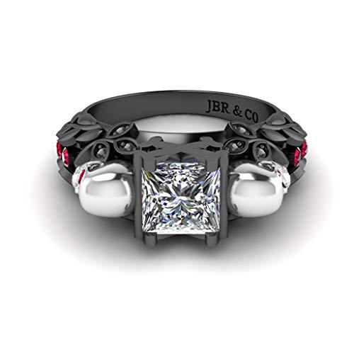 Jbr - Anillo de plata de ley con diseño de calavera de corte princesa, diseño de flor, aspecto bonito con anillos de rubí sintético, regalo de joyería romántica