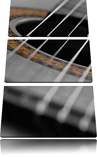Geluid gat van een akoestische gitaarFoto Canvas 3 deel | Maat: 120x80 cm | Wanddecoraties | Kunstdruk | Volledig gemonteerd