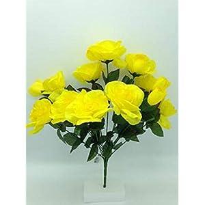 DIY Cemetery Silk Flower Yellow Open Rose Bouquet Refill