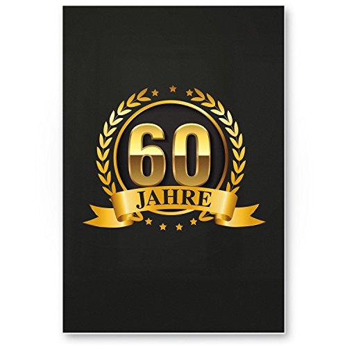 Bedankt! 60 jaar goud, plastic bord - cadeau 60e verjaardag, cadeau-idee verjaardagscadeau zestigste, verjaardagsdeco/partyaccessoires/verjaardagskaart