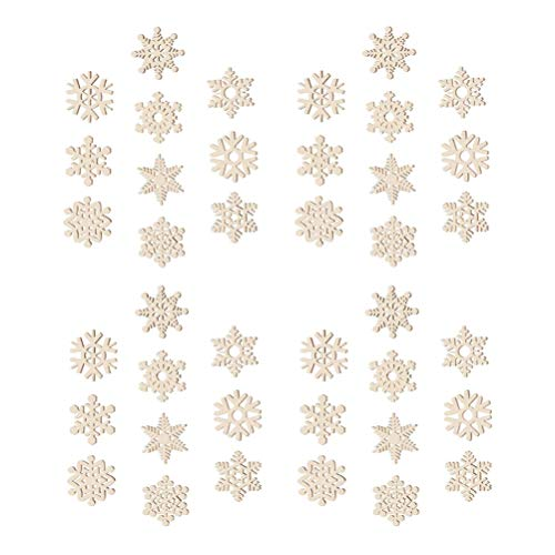VALICLUD 50pcs Christmas Wooden Ornaments Wooden Snowflake Pendant Christmas Tree Hanging Tags Hanging Embellishments Crafts for DIY Home Office