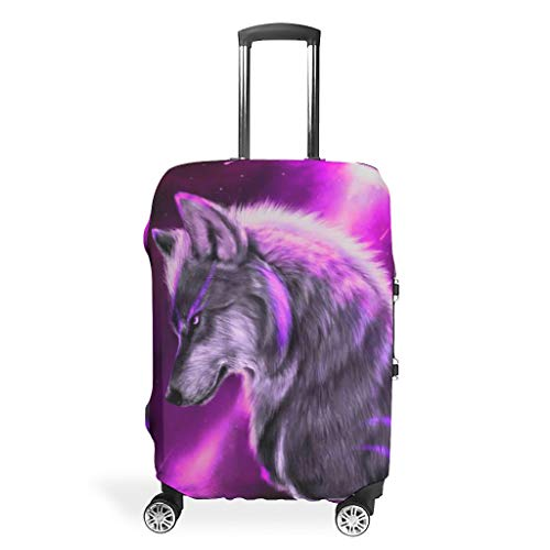 Wolf Animal-Mirror Suitcase Cover Durable Prevents Scuffs Fits 18-32 Inch for Wheeled Suitcase Over Softsided White 26-28in