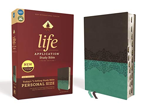 Compare Textbook Prices for NIV, Life Application Study Bible, Third Edition, Personal Size, Leathersoft, Gray/Teal, Red Letter Edition, Thumb Indexed Indexed, Thumbed Edition ISBN 0025986453053 by Zondervan
