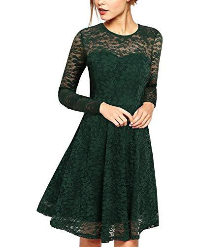 ZANZEA Abito da Sera Donna Pizzo Elegante Vestiti da Cocktail Manica Lunga con Girocollo Vestito Cerimonia Vintage 02-Verde L