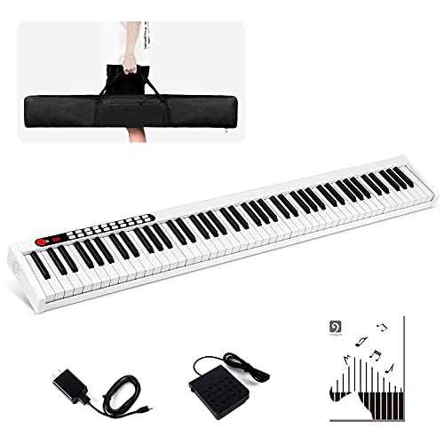 Vangoa VGD881 88 Key Digital Piano Keyboard Portable Electric Keyboard Piano with Full Size Touch Sensitive Keys, Sustain Pedal, Power Supply and Storage Bag, White