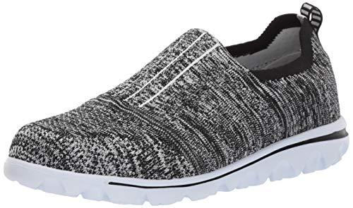 Propet Women's TravelActiv Stretch Boat Shoe, Black/Grey, 8.5 4E US
