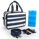 ALLCAMP Breast Milk Cooler Bag/Baby Bottles Bag with Contoured Ice Pack Fits 6 Bottle,Baby Bottles Tote Bag of Daycare,Breastmilk Baby Bottle Cooler & Travel Bag (Blue White)
