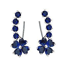 Blue Sapphire-color Flower Shape Cubic Crystal Wrap Earrings